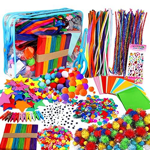 Yojoloin 1270PCS Artes y Manualidades para Niños Niñas Edades 5 6 7 8,Kit Manualidades Niños,Juego Creativo Pipe Cleaners Crafts Set DIY Materiales Supplies