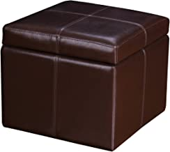2015 June NEW Product!!Adeco Brown Bonded Leather Contrast Stitch Square Cube Ottoman Footstool 16