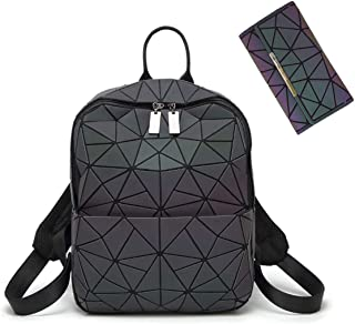 HotOne Color Change Geometric Purse and Handbags Luminous Backpack for Women