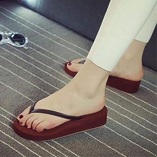 LJLLINGA Women Home Beach Soft Wedge Sandals Pu Non-Slip Leisure Slippers Mid Heels Platform Flip Flops