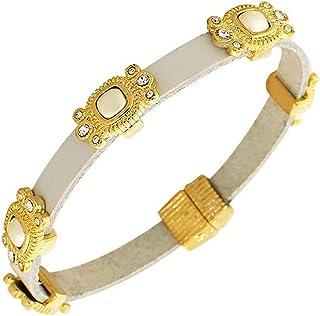 My Daily Styles Fashion Alloy Black Leather Yellow Gold-Tone White CZ Cross Religious Wristband Wrap Bracelet
