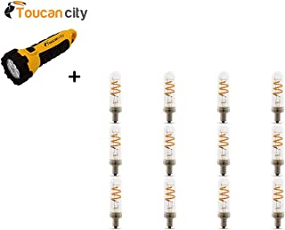 Toucan City LED Flashlight and Feit Electric 25-Watt Equivalent T6 Candelabra Dimmable Filament LED Vintage Style Clear Glass Light Bulb, Soft White (12-Pack) T6/S/CL/FILED/12