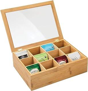 mDesign boîte à thé en Bois – boîte de Rangement pour sachets de thé avec 12 Compartiments – Coffre thé Pratique avec hubl...
