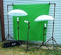 グリーン画面W /スタンド、傘Plusライト、Carryケース–Complete Photo Studio