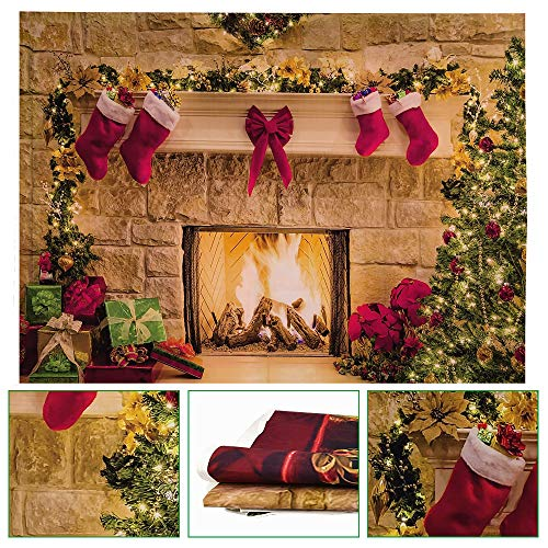 DECARETA Merry Christmas Backdrop,Xmas Backdrop Christmas Photo Background Canvas,Durable Fabric Christmas Fireplace Theme Backdrop Pictures Banner for Festive Photography Party Supplies (210x150cm)