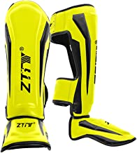 YZZR Espinilleras de Cuero de PU Empeine Espuma Pad Boxing Rodillera Soporte Protectores de piernas MMA Protección de pies Kickboxing,Muay Thai,Sparring Protective Gear (M,L)