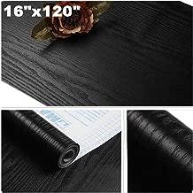 Yancorp Matte Black Grain Wood Textured Contact Paper Vinyl Film Self-Adhesive Wallpaper Shelf Liner Drawer Plywood Peel-Stick Countertop Sticker (16