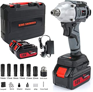 Impact Wrench with 2 Battery, Cordless Impact Driver 18V, 500N.M High Torque, 5,000mAH Lithium Battery, Dual Speed Automat...