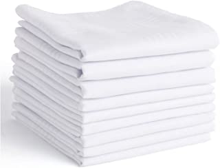 Men's Handkerchiefs,100% Soft Cotton,White Hankie