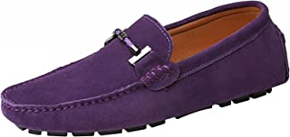 yldsgs Flat Loafer for Men Suede Leather Slip-on Dress Driving Moccasins Casual Boat Shoes