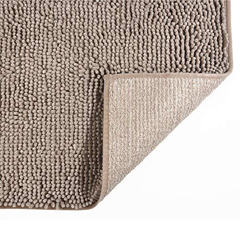 COSY HOMEER 50X80cm Badematte, rutschfest Waschbar Badezimmerteppich, Weich Badvorleger aus Chenille, Trocknend und Schimmelresistent Badteppich für Badezimmer (leicht braun)