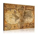 DekoArte 305 - Cuadros Modernos Impresión de Imagen Artística Digitalizada | Lienzo Decorativo para Tu Salón o Dormitorio | Estilo Mapamundi Mapa del Mundo Antiguo | 1 Pieza 120 x 80 cm
