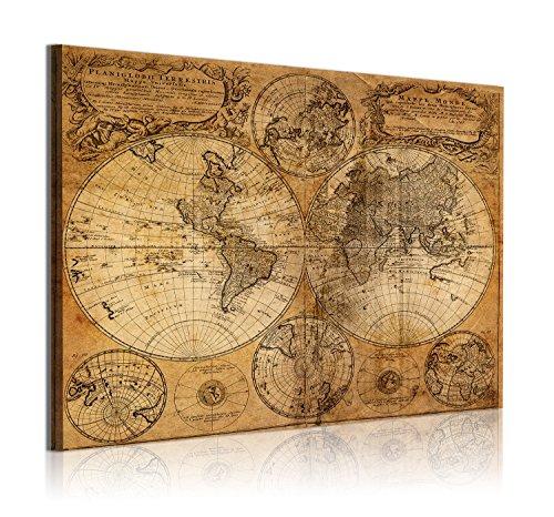 DekoArte - Cuadros Modernos Impresión de Imagen Artística Digitalizada | Lienzo Decorativo Para Tu Salón o Dormitorio |  Estilo Mapamundi Mapa del Mundo Antiguo | 1 Pieza 120 x 80 cm