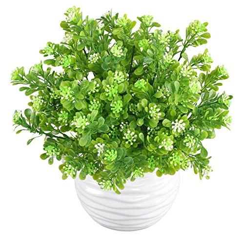 MIHOUNION 4 Bündel Künstliche Pflanzen Gefälschte Künstliche Sträucher Blumenstrauß Evergreen Sträucher für den Tisch Hochzeit Jeder zimmer Blumengestecke Deko