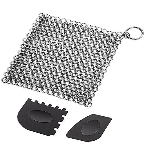 Limpiador de hierro fundido con raspadores de parrilla de plástico duradero, SENHAI de 17,78 x 17,78 cm de acero inoxidable para sartenes, planchas, sartenes o woks y más