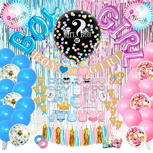 Popuppe Decoración de fiesta de género Reveal, 96 unidades, para niños o niñas, para fiestas de bebés, fiestas de cumpleaños