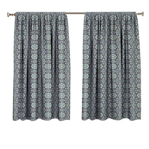 Vintage Blackout Drapes Home Decor Traditional Persian Flower Motifs with Arabesque Influences Old Fashioned Tile Insulated Room Darkening Printed Kids Curtains 63x45 inch