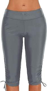 Womens Board Shorts Swimsuit Bottom High Waisted Tankini Long Sport Skinny Capris Swim Shorts