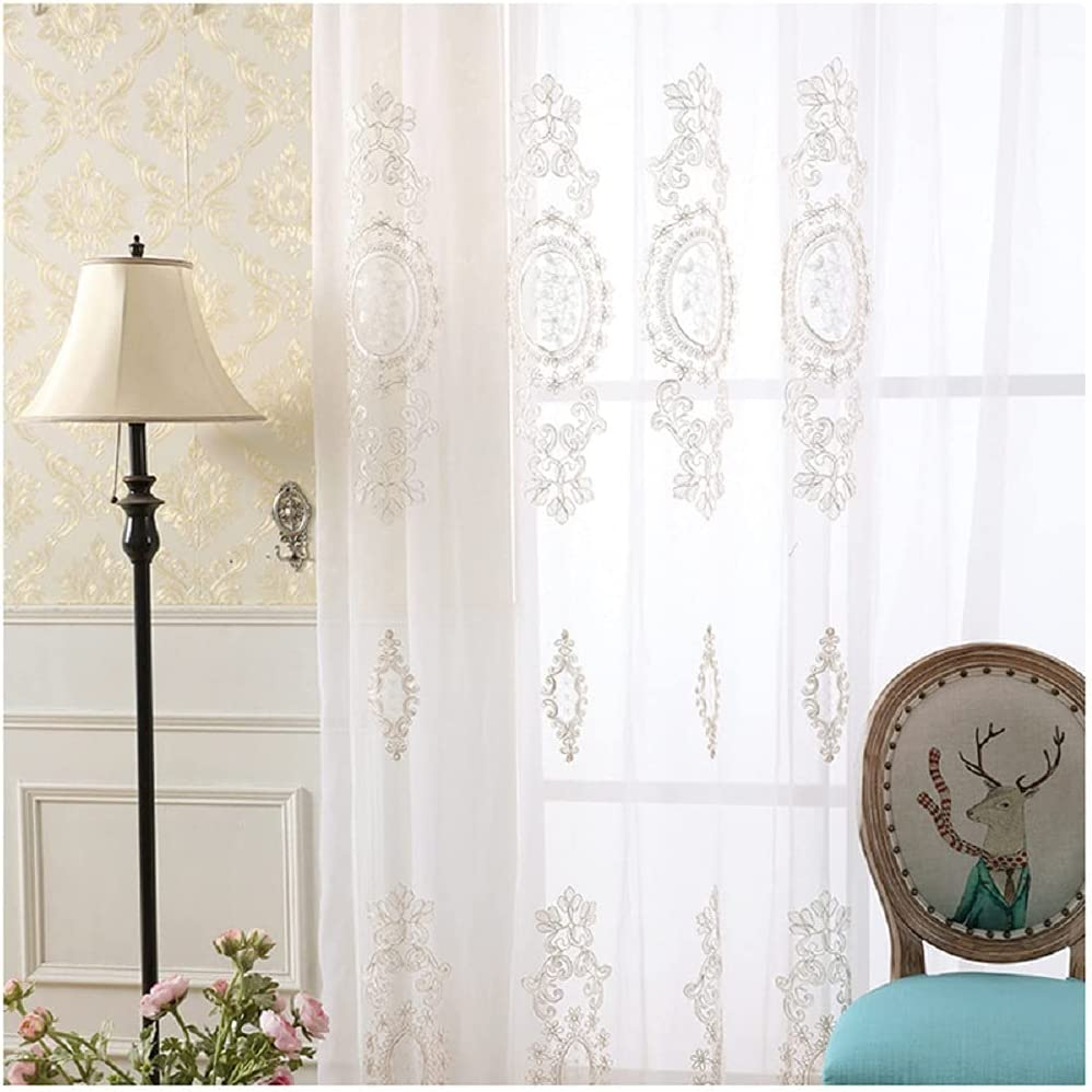 Iuokuby Luxurious half Embroidered Trust Design Floral Voile Sheer C Window