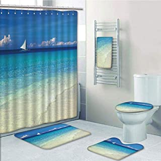 iPrint Bathroom 5 Piece Set Shower Curtain 3D Print,Sailboat Nautical Decor,Exotic Tropic Beach in Philippines Island Horizon Summer Paradise Concept,Turquoise Cream,Picture Print Design