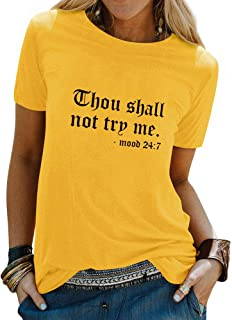 Women Plus Size Shirt Thou Shall Not Try Me Letter Print T-Shirt Funny Tee Tops