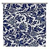 Duschvorhang – William Morris Distel Damast Kobalt Duschvorhänge für Badezimmer Dekor 183 x 183 cm (B x H), wasserdichter Stoff Duschvorhang-Set für Zuhause Badezimmer Dekor mit 12 Kunststoffhaken