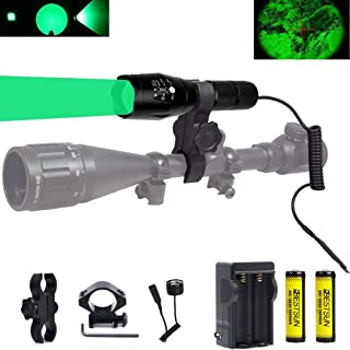 BESTSUN Green Light 350 Yards Predator Light Tactical Hunting Green Led Flashlight Coyote Varmint Hunt Torch with Pressure Switch Picatinny Rail Mounts, Batteries and Charger