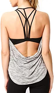ZYDP Women's Strappy Yoga Tops Workouts Clothes Activewear Built in Bra Tank Tops (Color : Gray, Size : M)