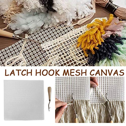 Shirt Luv Rug Hooking Mesh Canvas, Latchs Hook Mesh Canvas, with Needle Hook, 50×50 cm