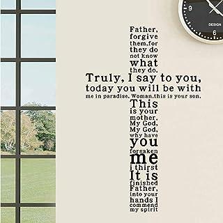 Cyalla Jesus Christ Truly I Say To You English Text Vinyl Removible Etiqueta De La Pared Calcomanías Living Home Decor Iglesia Wall Art Decor