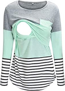 Women's Maternity Striped Nursing T-Shirt Long Sleeve Stitching Breastfeeding Tops Comfy Pullover O-Neck Blouse