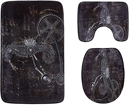 Steampunk Seahorse Mechanical Animal Bathroom Rug Mats Set 3-Piece,Soft Shower Bath Rugs,Contour Mat and Toilet Seat Lid Cover Non-Slip Machine Washable Flannel Toilet Rugs