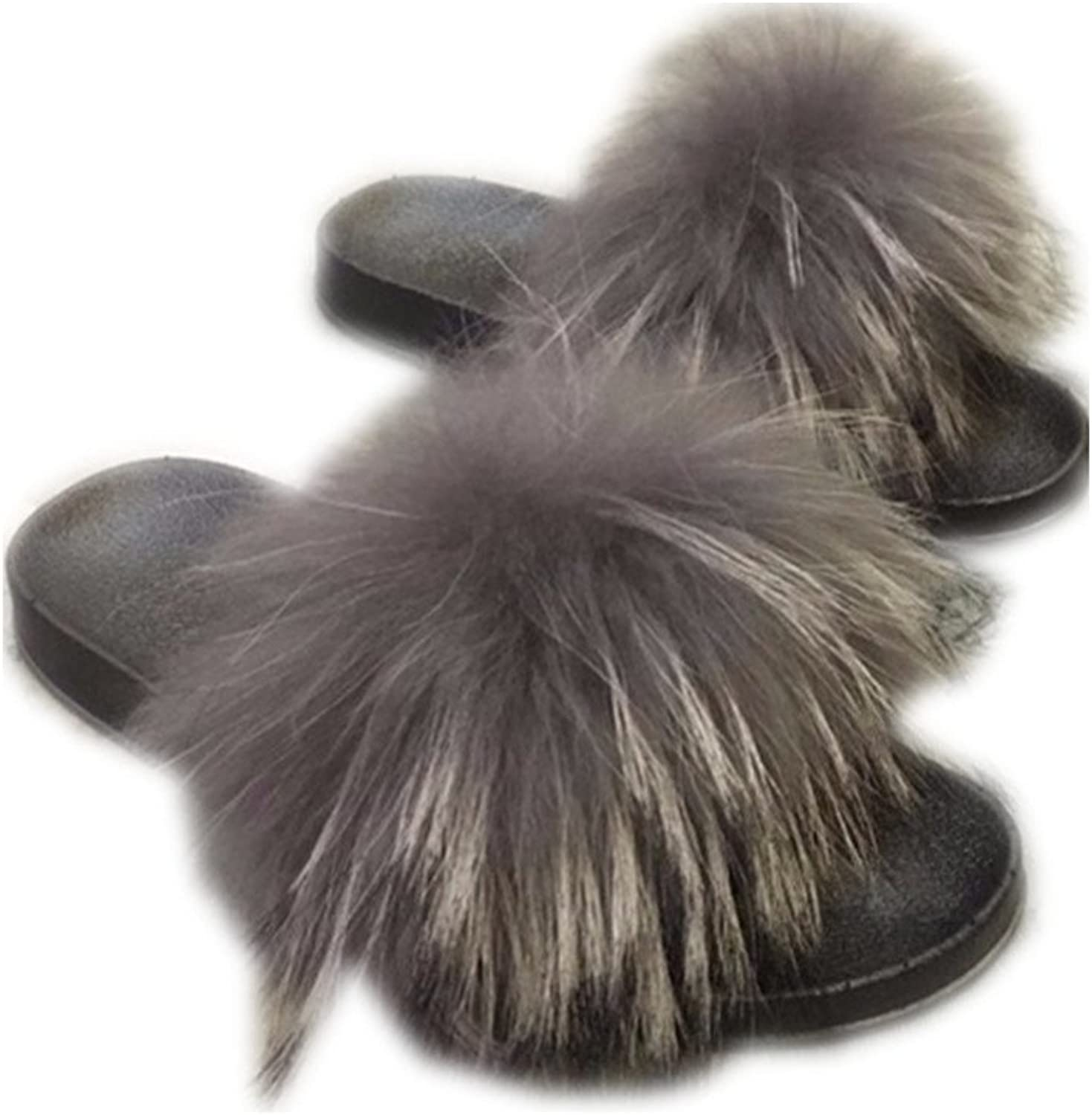 MH Bailment Womens Luxury Real Raccon Fur Slippers Slides Indoor Outdoor Flat Soles Soft Summer shoes