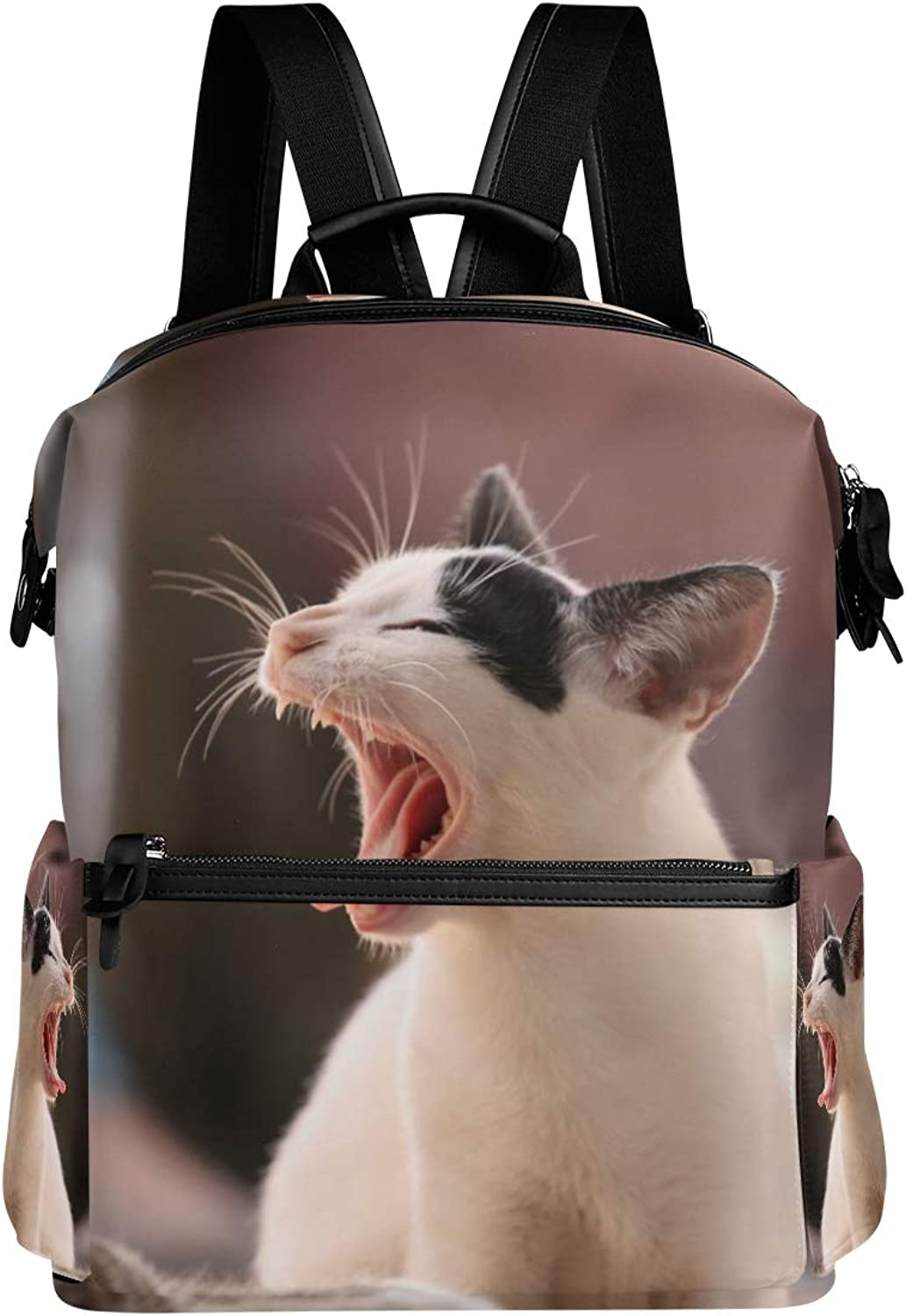 MONTOJ Animal Yawn Cat Pattern Leather Travel Bag Campus Backpack