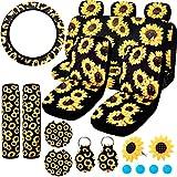 BQTQ 16 Pcs Sunflower Car Seat Cover Full Set Car Accessories with 7 Pcs Sunflower Car Seat Covers Headrest Covers Sunflower Steering Wheel Cover Seat Belt Covers for Car Decoration