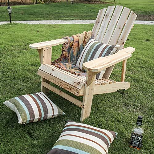 LOKATSE HOME Outdoor Wooden Adirondack Chairs Natural for Yard, Patio, Garden, Lawn