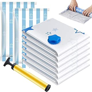 Vacuum Storage Bags 8 Bags - 2 Jumbo + 2 Extra Large + 2 Medium + 2 Roll Up Reusable Storage Bags with Travel Hand Pump fo...
