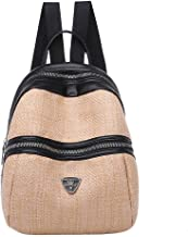 Powlance Contrast Color Handbag Women Girls Backpack Woven Leather Zipper Knapsack