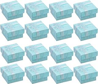 BESTOYARD ギフトボックス アクセサリー紙箱 蝶結び アクセサリーケース 正方形 指輪 ピアス リング ジュエリー収納ボックス 16個セット(ブルー)