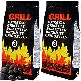Deuba 18kg de Charbon de Bois pour BBQ - 6X Sac de 3kg Briquettes à Barbecue - Braises Longue durée - Grill Jardin Terrasse