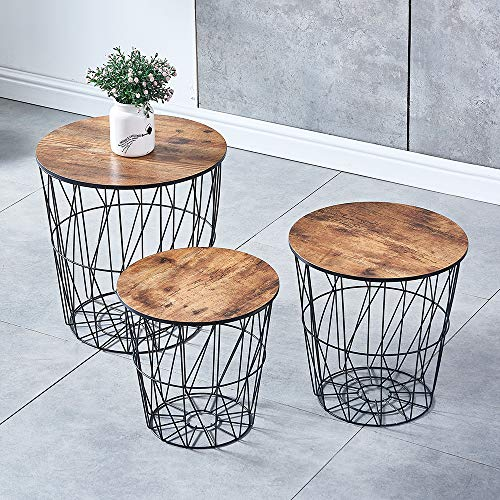 BonChoice Set of 3 Round Nesting Tables with Wooden Top, End Table Coffee Side Tables with Storage, Metal Wire Basket for Living Room Home Decor (Retro Brown with Black Wire)