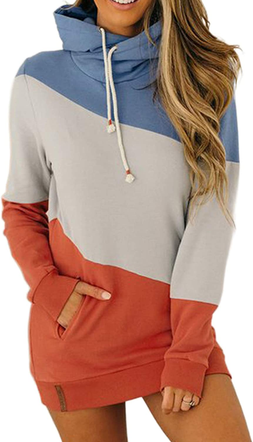 ROSKIKI Womens Casual Zip Up Sweatshirt Cowl Neck Drawstring Hooded Pullover Top with Pockets