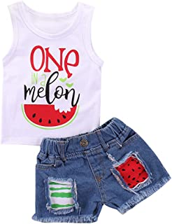 Toddler Kids Baby Girl Watermelon Denim Outfit Clothes Sleeveless Vest Tank Tops + Ripped Jeans Shorts Set