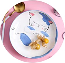 2Pcs Direct sales network red hand painted creative ceramic tableware home kitchen storage fruit salad cat cartoon decoration,as the picture shows,SpoonX2