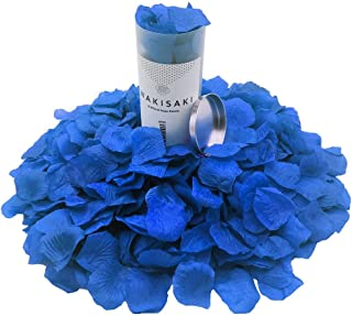 WAKISAKI (Separated, Pleasant-Smelling) Artificial Fake Rose Petals for Romantic Night, Wedding, Event, Party, Decoration, in Bulk (1000 Count, Egyptian Blue)
