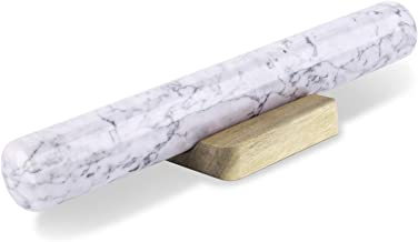 """Flexzion Marble Rolling Pin with Wooden Holder Base - Heavy Weight Board Stand Slab Set for Baker Baking Bakery Donut Cookie Pasta Dough Pastry Fondant Pie Chef 11"""" White Marble French Dowel"""
