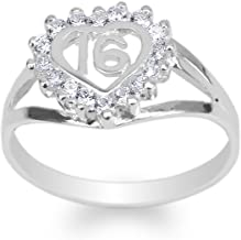 JamesJenny Womens 925 Sterling Silver Round CZ Sweet 16 Beautiful Heart Ring Size 4-10