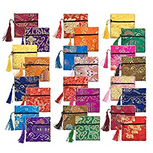 24pc Chinese Silk Brocade Coin Purse Embroider Jewelry Bag Zipper Wallet Pouch