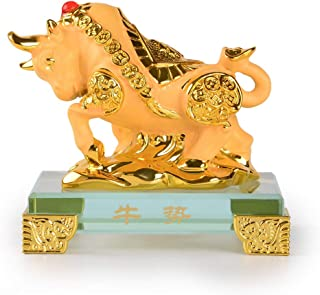 PopTop Brass Golden Resin Feng Shui Statue Ox/Bull/Cow Chinese Zodiac Home Office Table Top Decor Figurine Gift Collection PTZY101