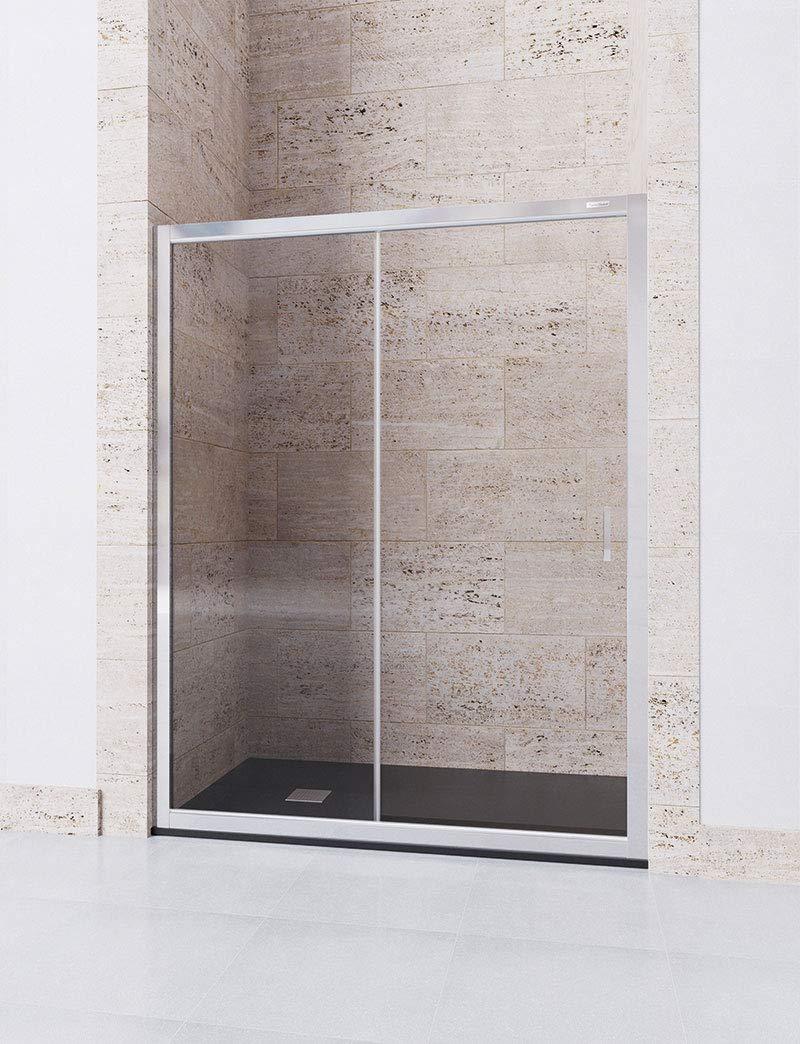 Modelo DORA - Mampara de Ducha Frontal - 1 Hoja Fija y 1 Hoja Corredera - Cristal 6 mm con ANTICAL INCLUIDO (122-126): Amazon.es: Bricolaje y herramientas